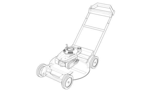 Outline lawn mower vector. Wire-frame style