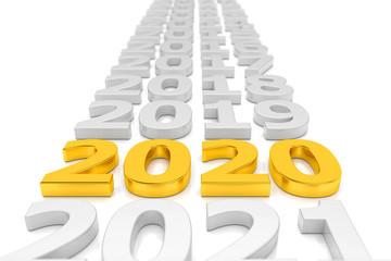Zeitstrahl - Silvester, Sylvester, Neujahr 2020 in gold