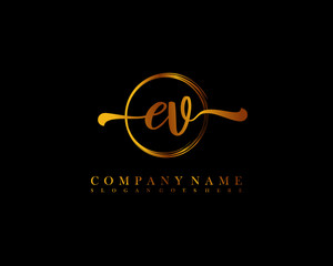 EV Initial handwriting logo with circle hand drawn template vector