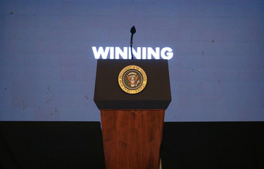 U.S. President Donald Trump's presidential podium awaits his arrival to address Turning Point USA's Teen Student Action Summit in Washington
