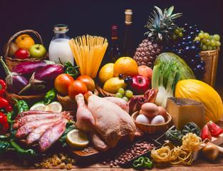 Assortment of foods.