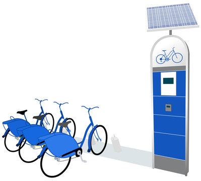 Citi Bike - public bicycle sharing system serving (docking station blue)