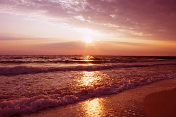 Sunset seascape. Natural beach landscape