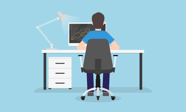 Man is working on the computer. Back view. Person sitting on a chair in the desk or table. Home office, workplace or workspace concept. Vector illustration.