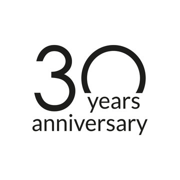 30 years anniversary celebrating icon or logo. Birthday, greeting card design template. Vector illustration.