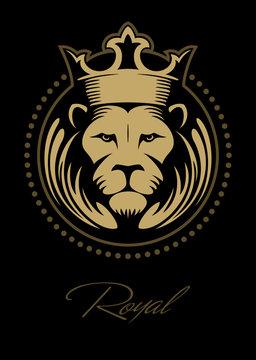 Lion face, lion head with the crown, lion logo design concept.