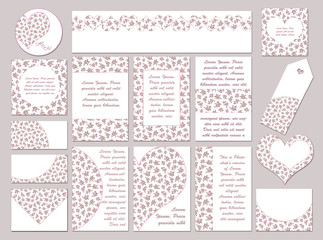Set of Cards, Labels, Tags, and Envelops for Wedding, Valentine Day, and Romantic Event. Sakura Blossom Collection of Save the Date Card, Invitation, Decoration Tags & Labels. Watercolor Pink Floral.