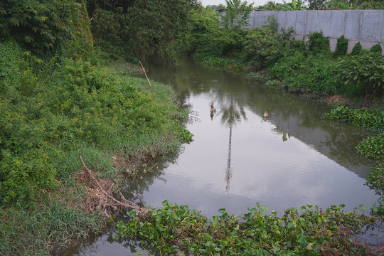 Waste water drainage canal from community areas in Thailand