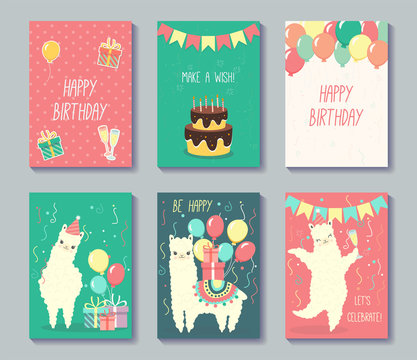 Set of happy birthday cards design. Greeting cards with cute llamas. Vector illustration