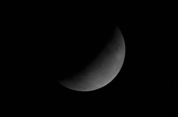 Lunar Eclipse July 2019, final phase on full Moon, taken in the deep space.