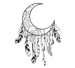 Dreamcatcher on white. Abstract mystic symbol. Design for spiritual relaxation for adults. Black and white illustration for coloring