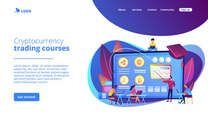 Financial literacy education, e business school. Cryptocurrency trading courses, crypto trade academy, learn how to trade cryptocurrency concept. Website homepage landing web page template.