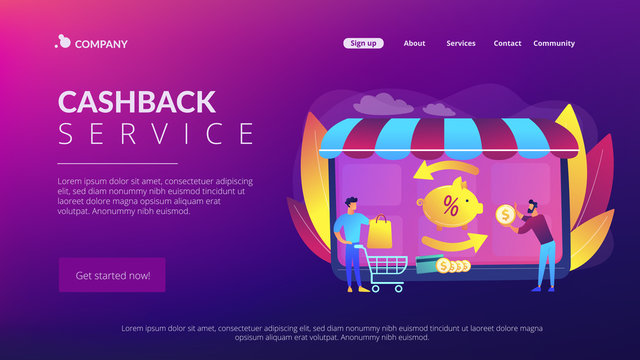 Cost saving. Online payment. Money transfer. Financial savings. Cashback service, online cashback extension, get your cashback reward concept. Website homepage landing web page template.