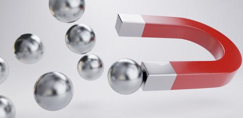 magnet chrome balls magnetic design 3d-illustration - fototapety na wymiar