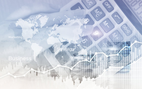 World wide map on abstract business background, coins and calculator double exposure graph, chart and diagram.