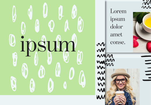Social Media Grid Layout with Illustrative Elements