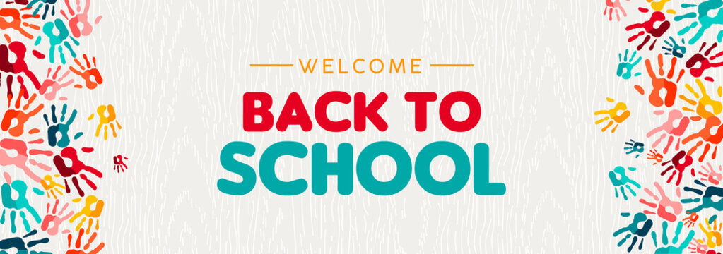 Back to school banner of diverse kid hand prints