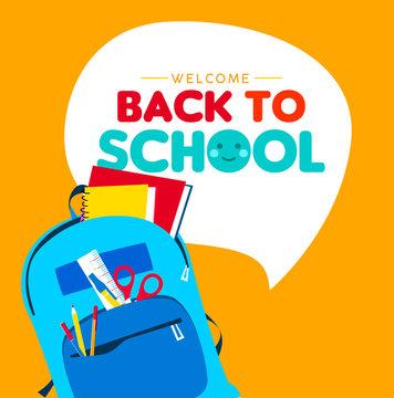 Back to school children school supply backpack