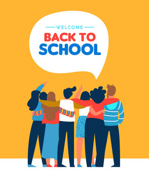 Back to school diverse student friend group card