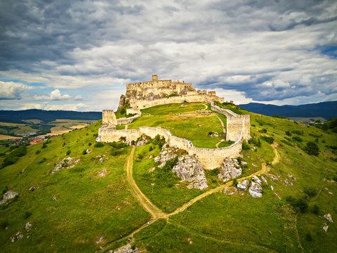 Aerial view of Spis (Spiš, Spišský) castle in summer