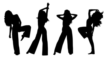 Vector black silhouettes of beautiful stylish fashion female dancer