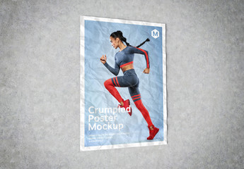 Crumpled Poster on Concrete Mockup