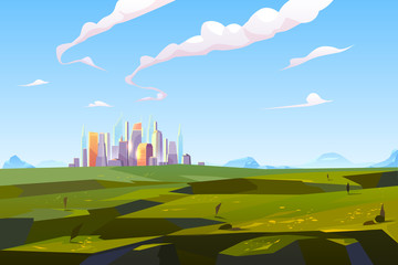 Foto auf Acrylglas Pool Futuristic city in green valley among mountains, modern megapolis with glass buildings stand on beautiful nature landscape background on summer time, skyscrapers reflect sun Cartoon vector