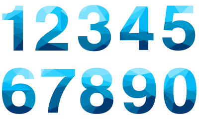 Set of blue vector polygon numbers font with long shadow.  Low poly illustration of flat design.
