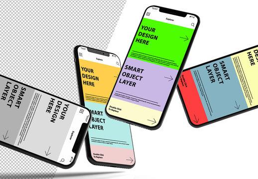 4 Floating Smartphone Mockups