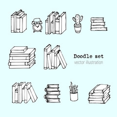 Vector Set of books, Notebooks, Notepads and Diaries. Stack of books Sketch. Office stuff, student desk. Doodle stationery. Hand drawn illustration. Cartoon Design elemements for infographic. School
