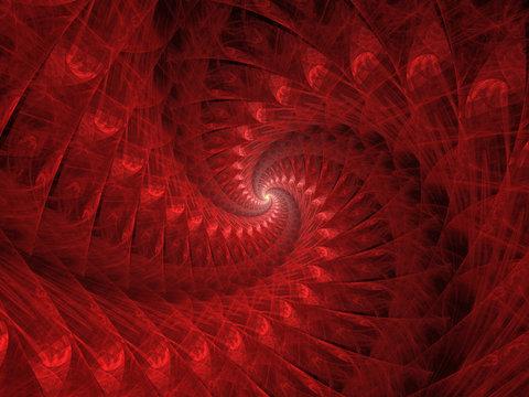 Red Spiral Fractal Background Image, Illustration - Vortex repeating spiral pattern, Symmetrical repeating geometric patterns. Abstract background