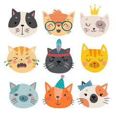 Fototapete - Cute cats faces. Hand drawn characters.