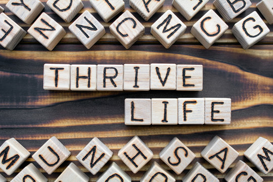 thrive life - phrase from wooden blocks with letters, *** concept, random letters around, top view on wooden background