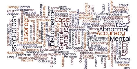 Psychology word cloud illustration on white background