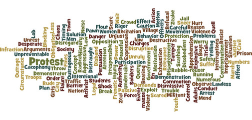 Protest word cloud illustration on white background