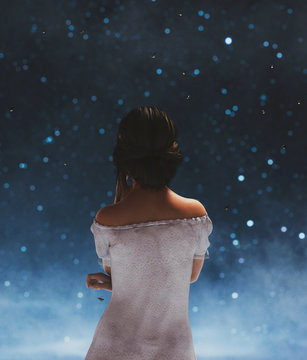 Girl looking at fireflies in starry night,3d illustration