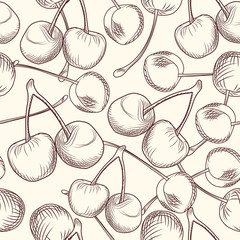 Hand draw cherries seamless pattern. Engraving style.