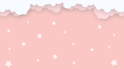 Abstract kawaii Cloudy Colorful Sky background. Soft gradient pastel Comic graphic. Concept for wedding card design or presentation