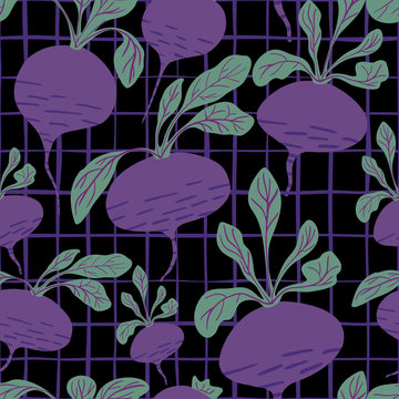 Hand drawn beet seamless pattern on black background.