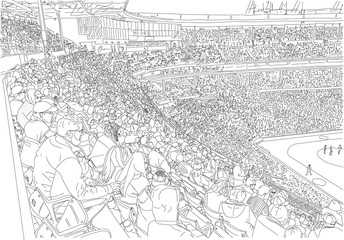 A giant crowd gathers at a baseball stadium to watch a game. Hand drawn illustration. Black and white.