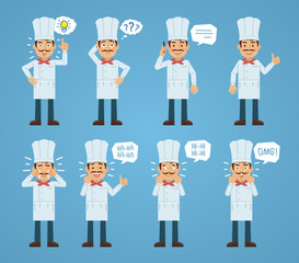 Set of cook characters posing in different situations. Cheerful cook talking on phone, pointing up, thinking, laughing, crying, surprised. Flat style vector illustration