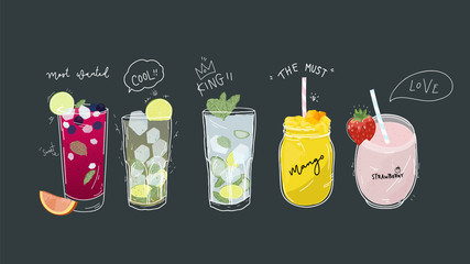 Collection of soft drinks ,healthy detox beverages, cocktails, smoothies with tasty fresh fruits, Banner with doodle style - Vector
