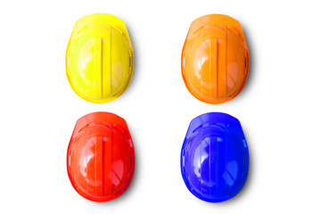 Group of safety engineer helmets on white background. Industrial safety helmet labor protection and accident prevention. top view for design.
