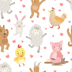 Cute Farm Animals Childish Seamless Pattern, Dog, Pig, Sheep, Chicken, Hen, Design Element Can Be Used for Wallpaper, Packaging, Background Vector Illustration