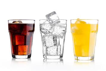 Fototapeta Glasses of cola and orange soda drink and lemonade