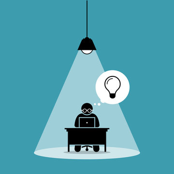 Stick figure man concentrating and focusing on his computer work and thinking of new idea under a spot light. Vector artwork concept depicts focus, working hard, dedication, and high attention.