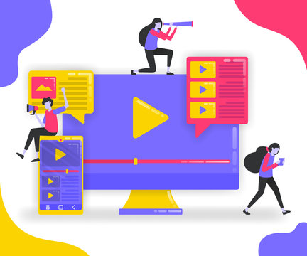 Illustration of play button and playlist. Monitor and smartphone with suscribe video, influencers looking for followers with video platform. flat vector concept for Landing page, website, mobile apps