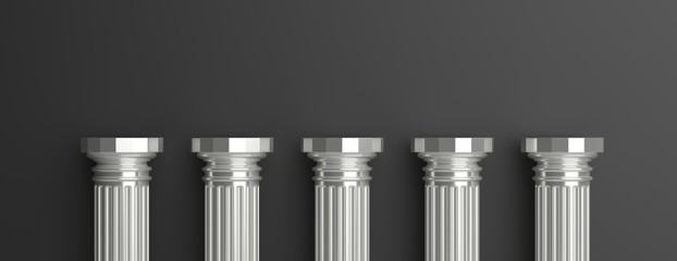 Five silver pillars against black wall background. 3d illustration Fototapete