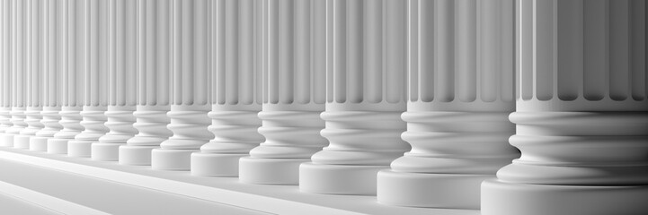 Classical pillars white color marble. 3d illustration Fototapete