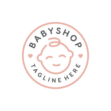 Cute little baby face for Baby Shop logo design